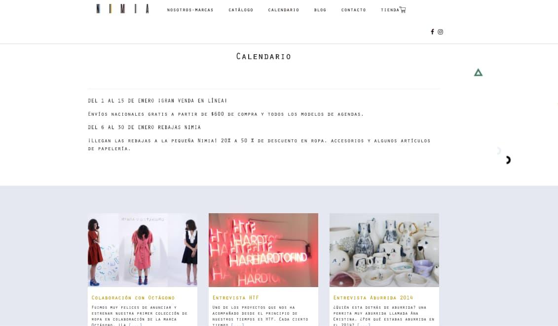 Calendario de actividades en sitio web de Nimia