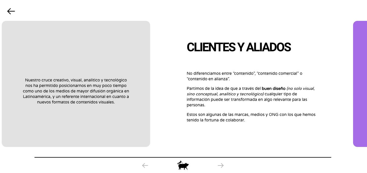 Pictoline, sección de clientes en su sitio web