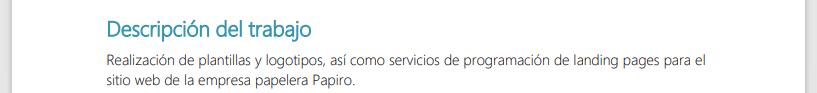 Sección para describir los productos o servicios en una cotización, hecho con la plantilla de HubSpot