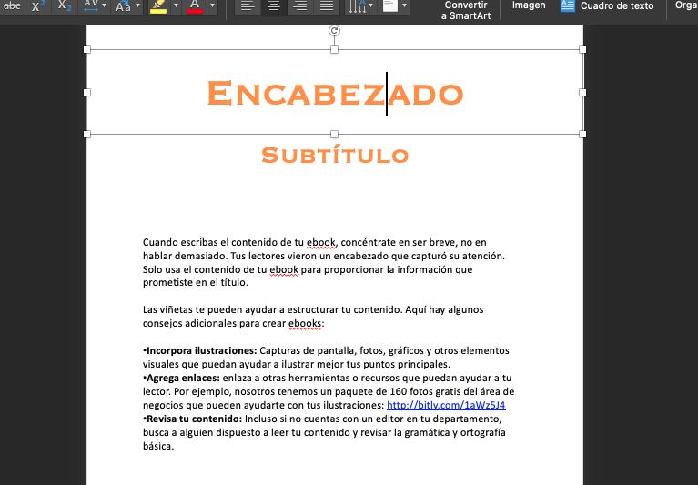 Cómo usar las plantillas de ebooks en PowerPoint: encabezado