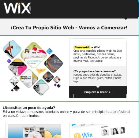Ejemplo de mensaje de bienvenida de Wix