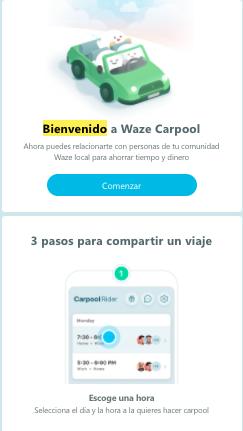 Ejemplo de mensaje de bienvenida de Waze
