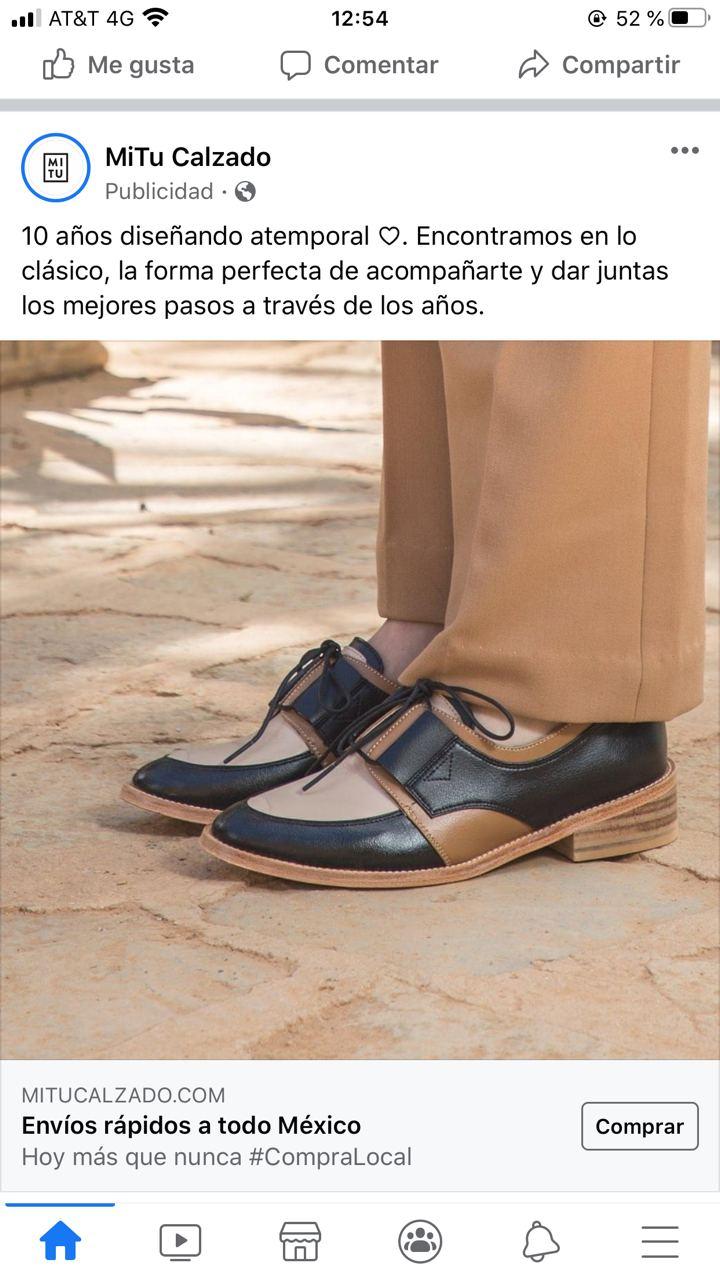 Ejemplo de anuncio con CTA de MiTu Calzado en Facebook