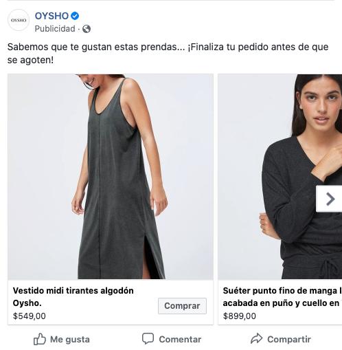 Ejemplo de anuncio dinámico de OYSHO en Facebook