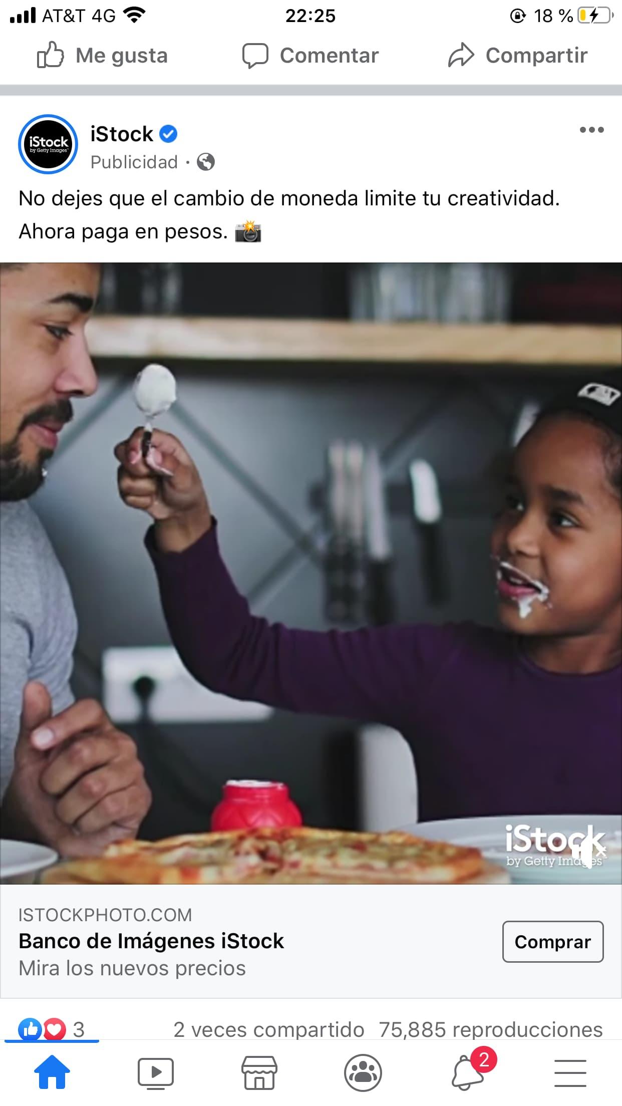 Ejemplo de anuncio de Facebook de iStock