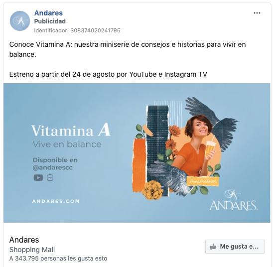 Anuncio de evento del centro comercial Andares