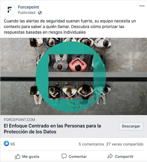 Ejemplo de publicidad de Facebook en el feed de Forcepoint