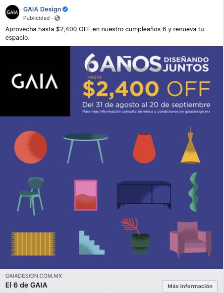Ejemplo de anuncio de Facebook con foto de GAIA Design
