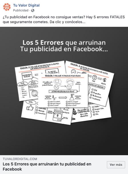 Anuncio de Facebook: post promocionado de Tu Valor Digital