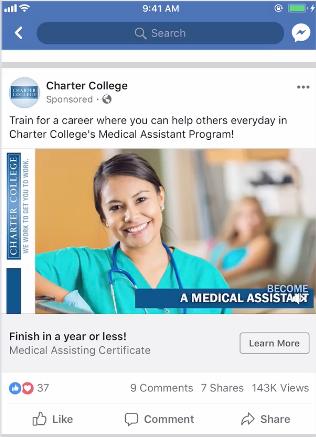 Ejemplo de anuncio de presentación en Facebook de Charter College