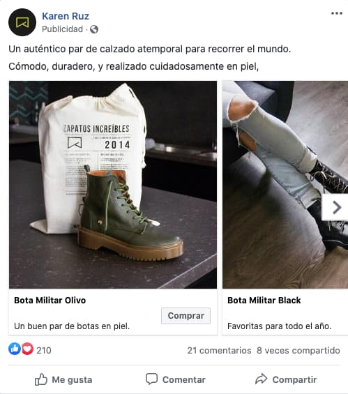 Anuncio en secuencia o de varios productos de la marca de zapatos Karen Ruz