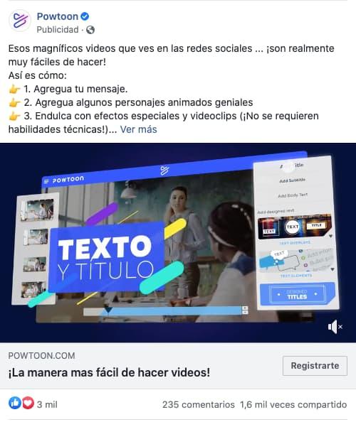 Ejemplo de anuncio en formato video de Powtoon en Facebook