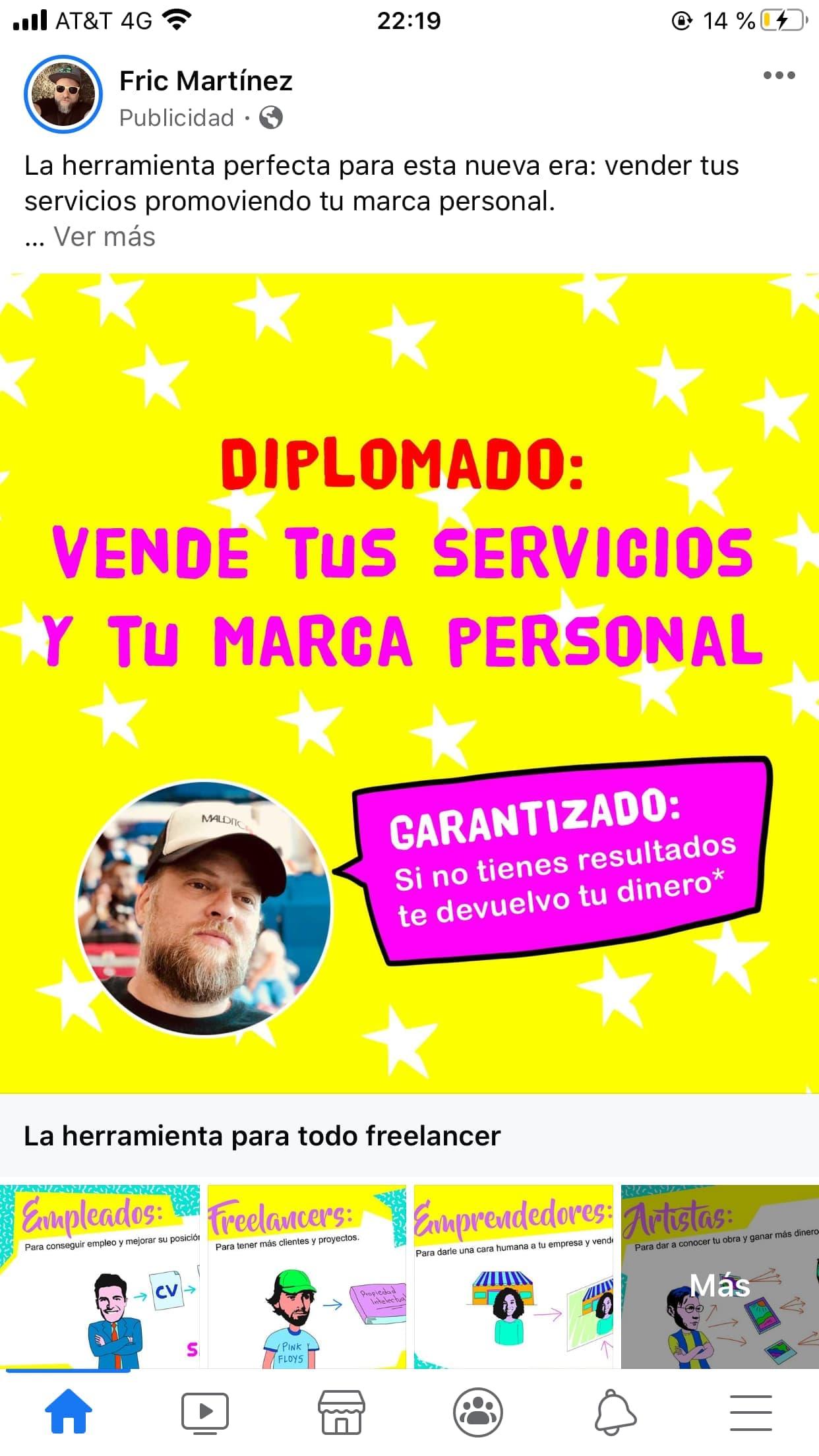 Ejemplo de anuncio de Facebook de Fric Martínez