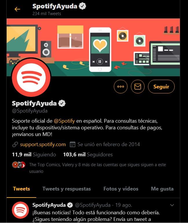 Buena atención al cliente Spotify Ayuda en Twitter