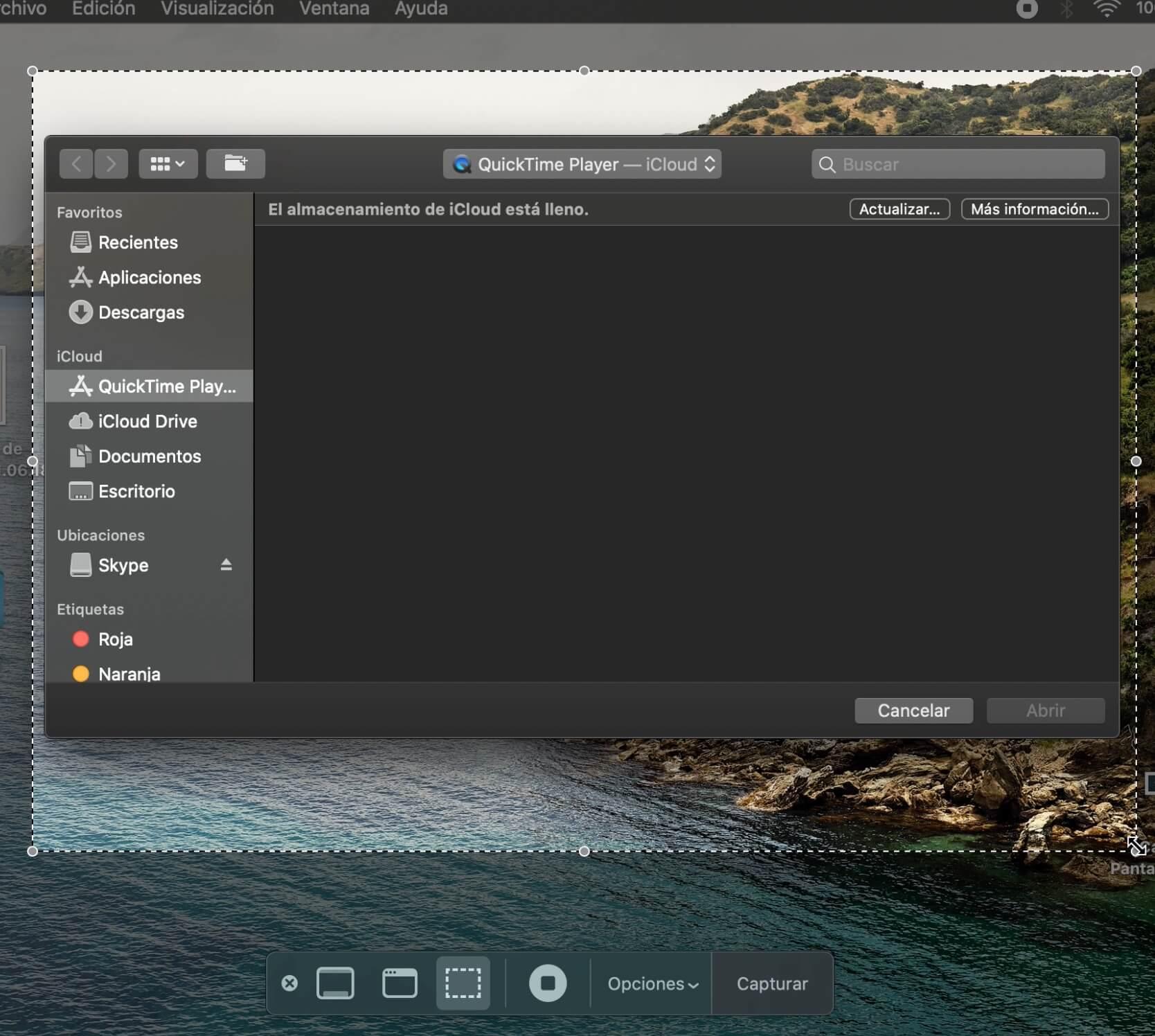 Cómo grabar pantalla en Mac: elige el área de grabación