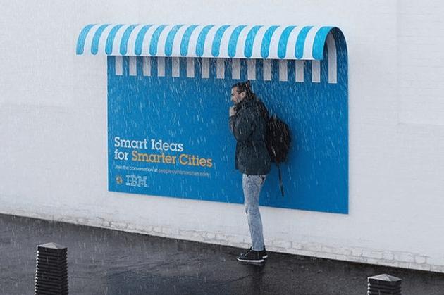 Ejemplo de cartel publicitario interactivo de IBM