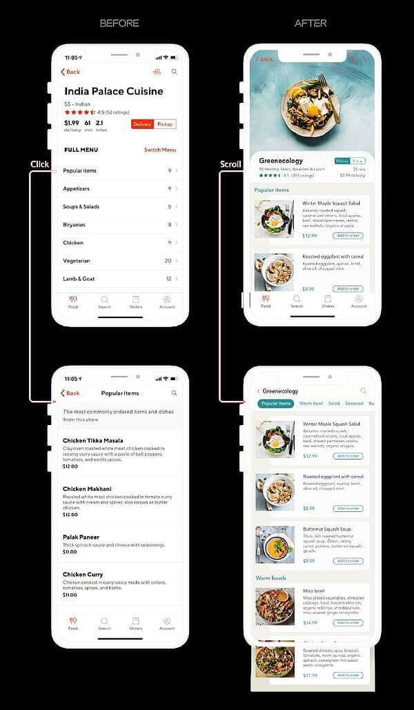 Ideas de diseño UX: rediseño de la app DoorDash por Jo Zhouzheng