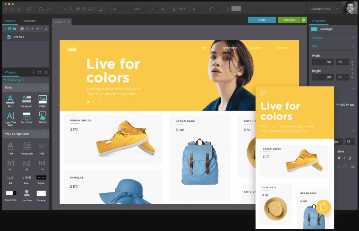 Diseño UX: prototipo de página web de escritorio y móvil en Justinmind