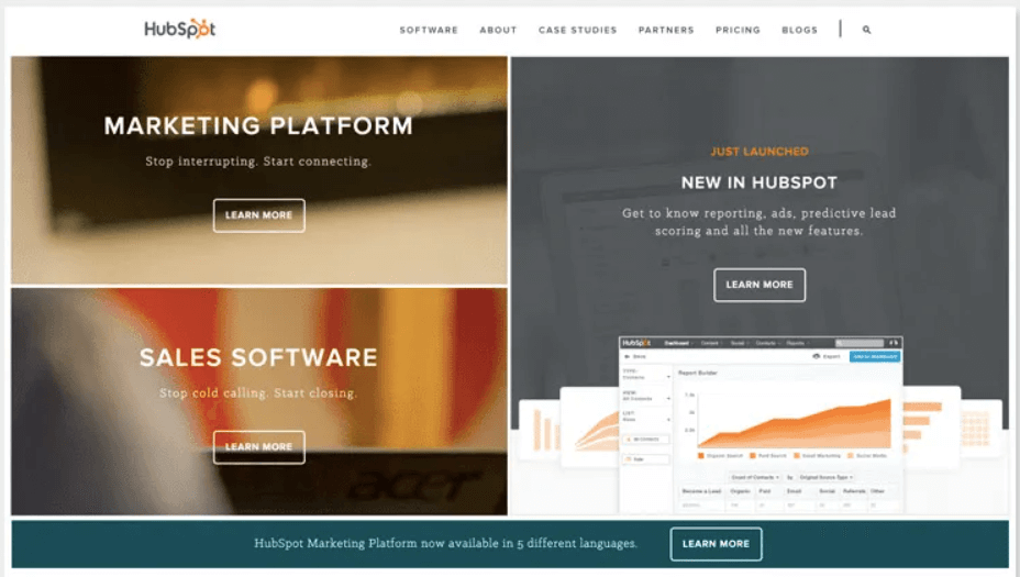 Ideas de diseño UX: rediseño de la página de inicio de HubSpot