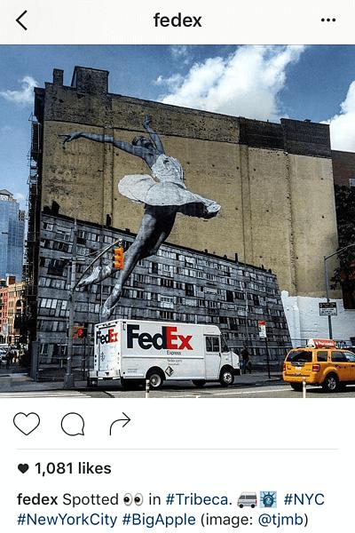 Ejemplo de pie de foto en Instagram con emoticonos de FedEx