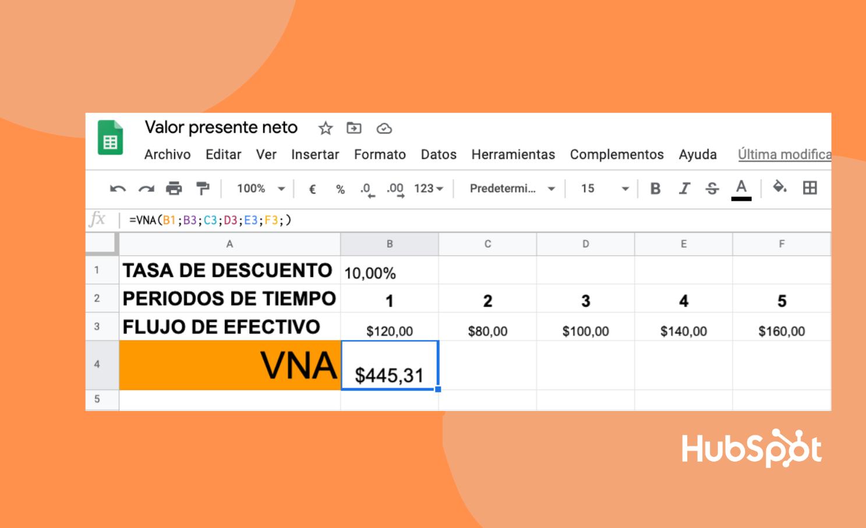 Valor presente neto: ejemplo en Excel