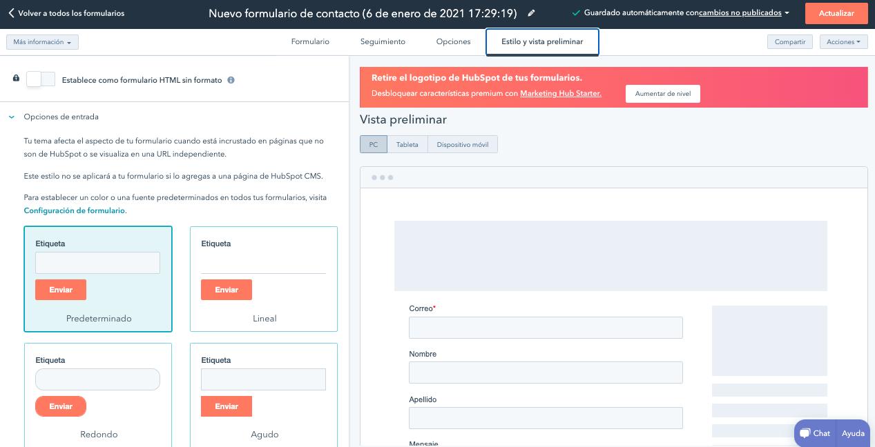 Configuración de estilo en formularios de contacto creados con HubSpot