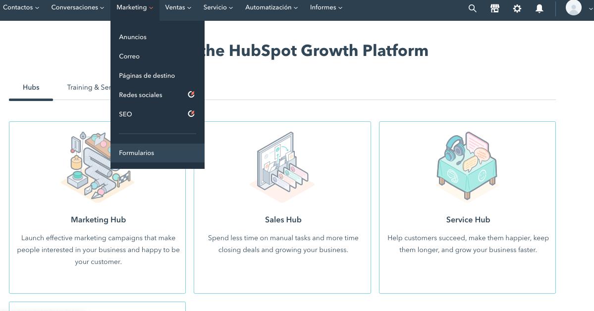 Cómo crear formulario gratis en HubSpot: menú desplegado de Marketing