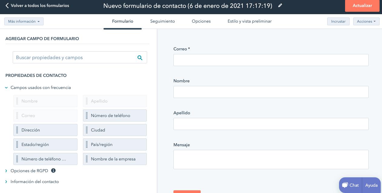 Plantilla para formulario de contacto en la herramienta de HubSpot