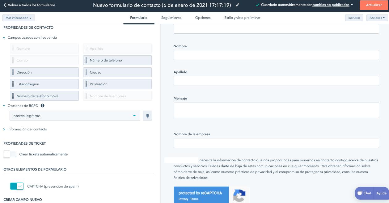 Seleccionar campos para formulario de contacto en HubSpot