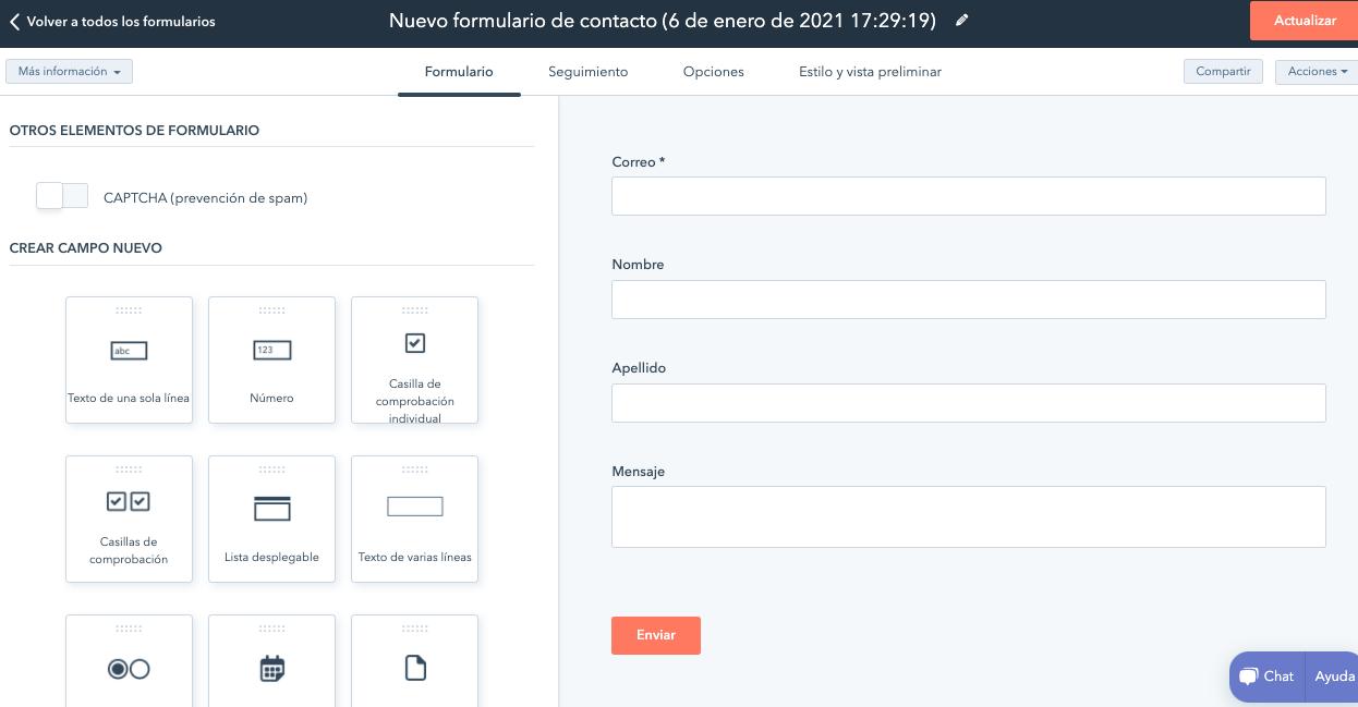 Campos de nuevo formulario de contacto en HubSpot