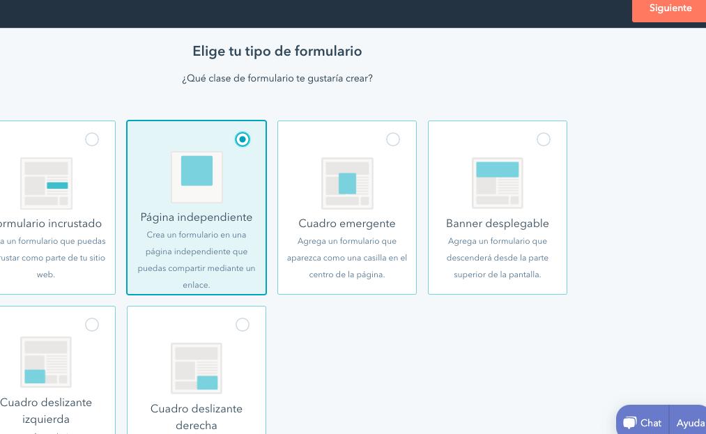 """Opción """"Página independiente"""" en herramienta de formularios de contacto de HubSpot"""