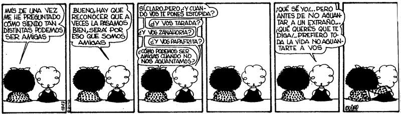Un ejemplo de cómo Mafalda mantiene una relación con el mundo para la gestión empresarial