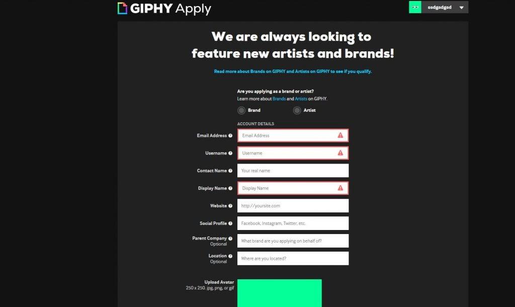 Formulario para crear una cuenta de marca en Giphy