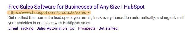 Resultados de búsqueda en Google que muestran la dirección canónica o prioritaria