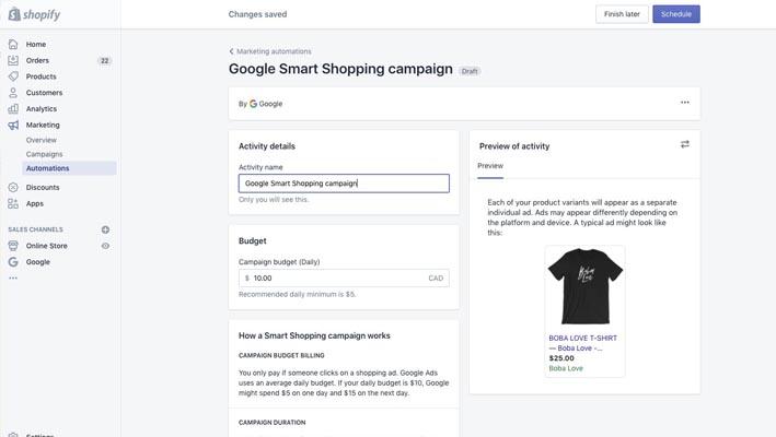 Aplicación Google Shop para tiendas en Shopify