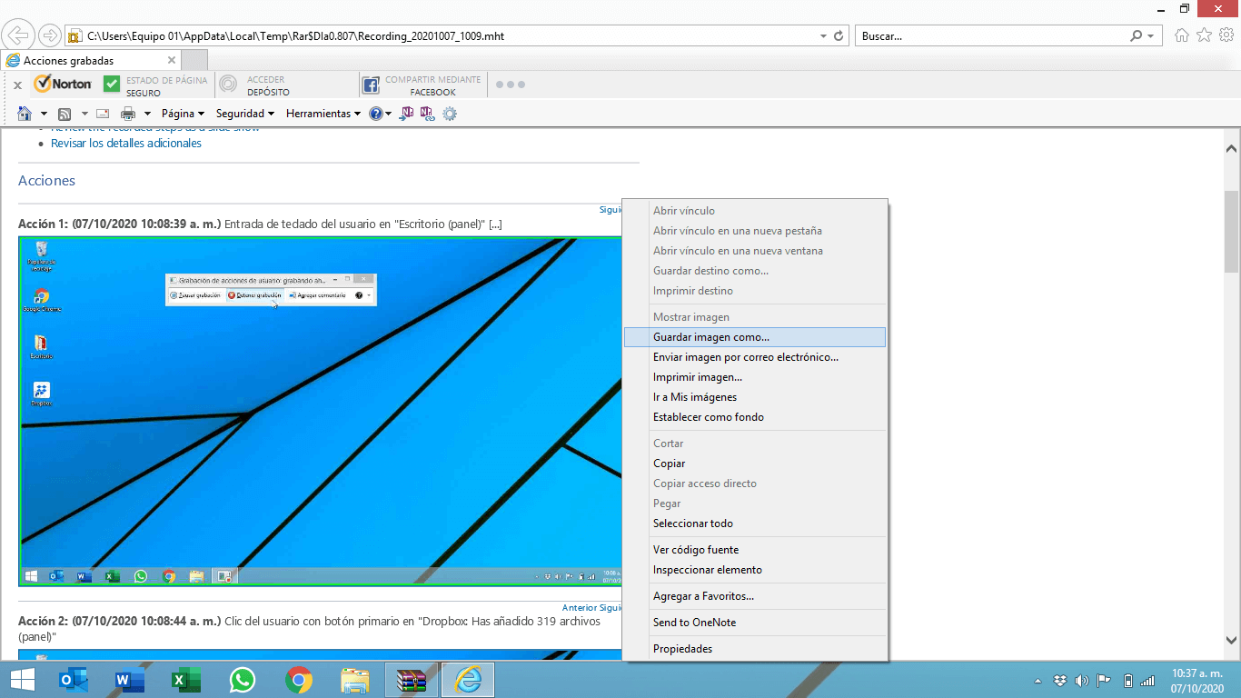 Cómo guardar las imágenes de una grabación de pantalla en PC
