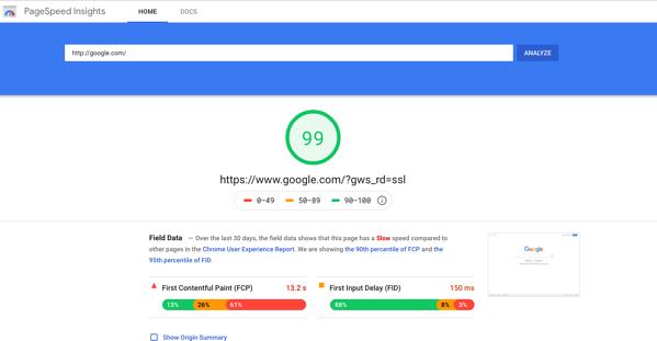 Herramienta PageSpeed Insights para medir la velocidad de una página web