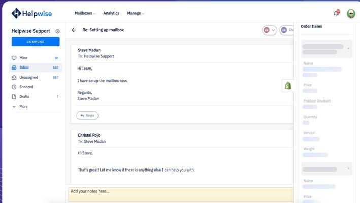 Helpwise, app para gestión de correos electrónicos para tiendas de Shopify