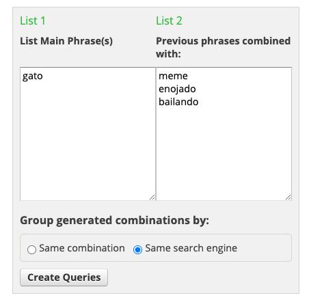 Herramientas gratuitas para buscar keywords: Ninja Search Combination Tool