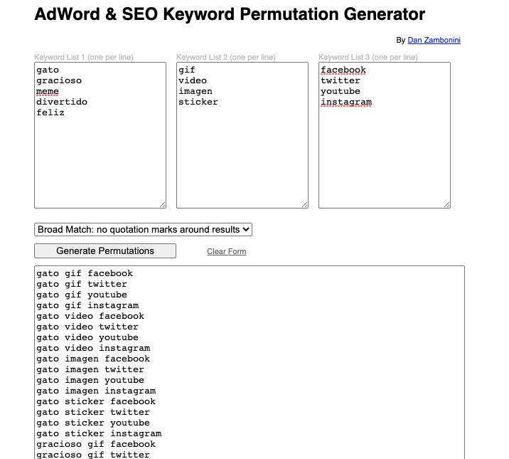 Herramientas gratuitas para buscar keywords: AdWord & SEO Keyword Permutiation Generator