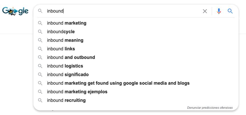 Herramientas gratuitas para buscar keywords: Google Auto Suggest