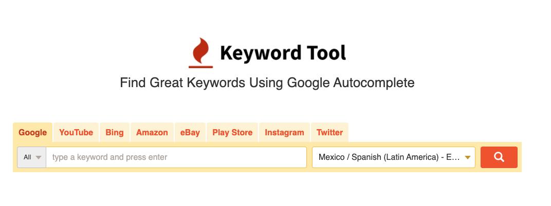 Herramienta gratuita para buscar keywords: Keywordtool