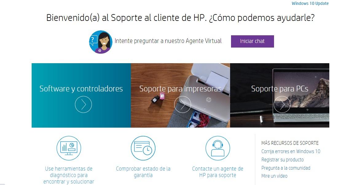 Ejemplo de autoservicio al cliente de HP