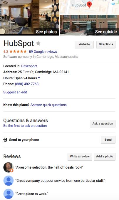 Perfil de HubSpot en Google Maps