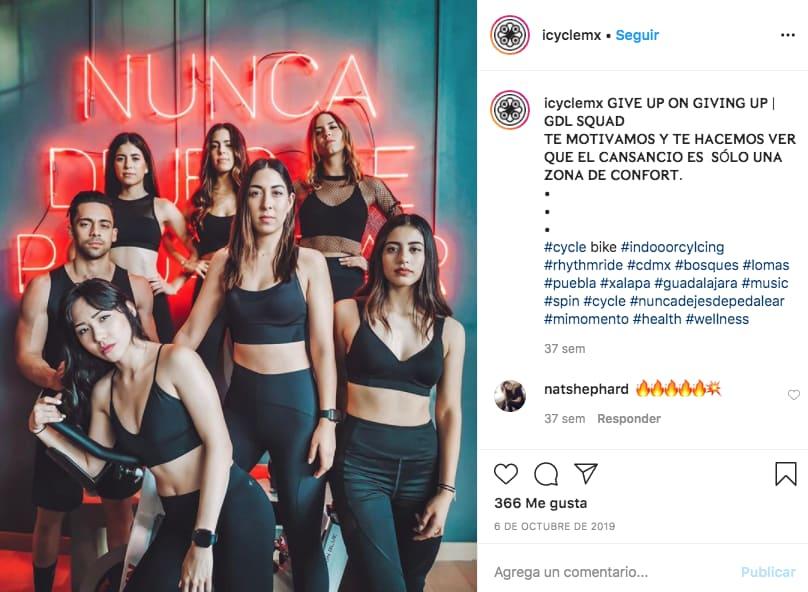 Marketing en Instagram: ejemplo de publicación de @icyclemx