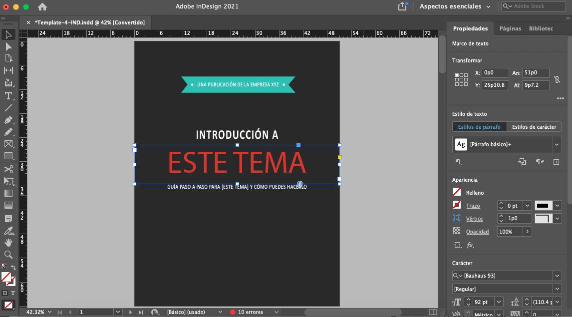 Cómo usar las plantillas de ebooks gratis de HubSpot: portada en InDesign