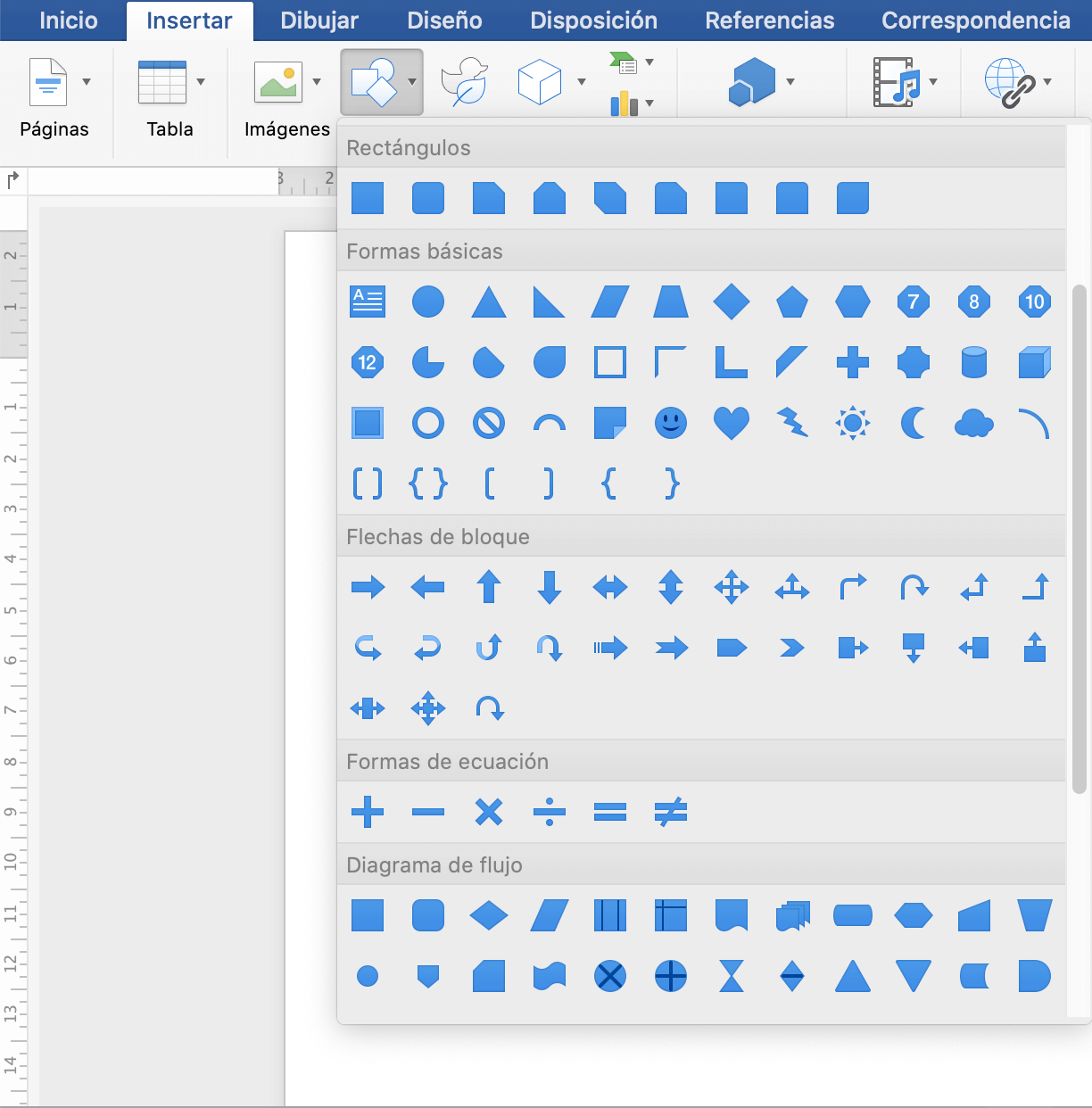 Añadir formas en una infografía en Word
