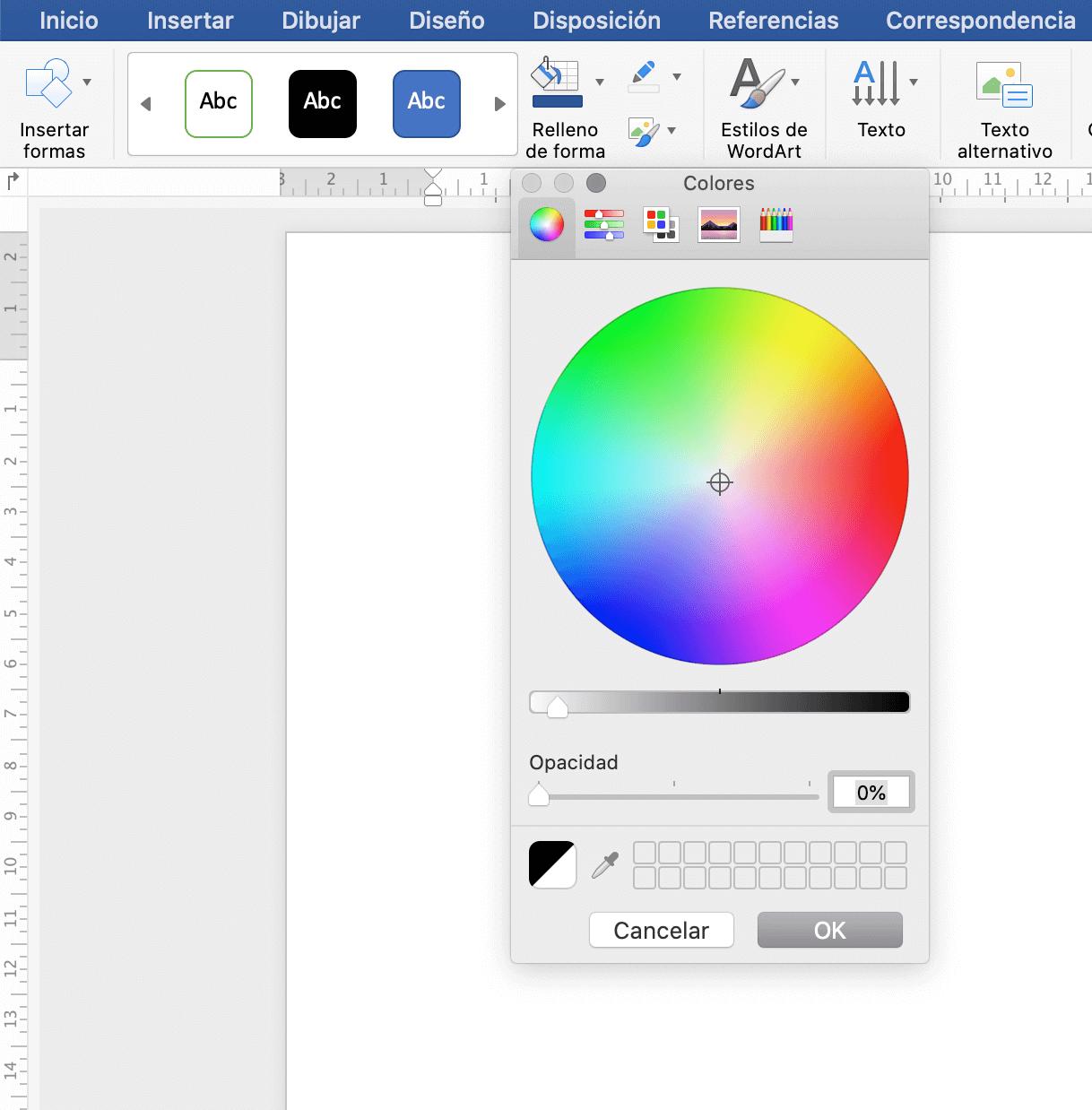 Esquema de colores para una infografía en Word
