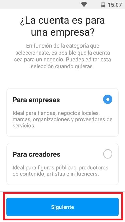 Seleccionar clasificación de empresa en Instagram