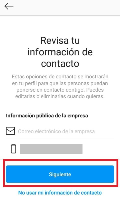 Información de contacto de empresa en Instagram